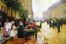Louis Marie de Shryver - Cityscape Oil Painting - Rue Royale, Paris - size 36x28
