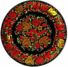 "Authentic Russian Khokhloma Hand Painted Wooden Decorative Wall Plate 12.2"" New"