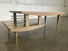 Mid Century Modern Atomic Coffee Table 2 Tier Ash Blond Brass Vintage MCM Retro