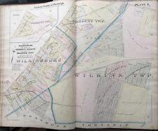 1895 PITTSBURGH PA WILKINSBURG STERRETT BRADDOCK TWPS GM HOPKINS PLAT ATLAS MAP
