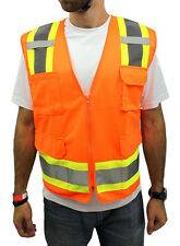 XL  -Surveyor Solid Orange Two Tones Safety Vest , ANSI/ ISEA 107-2015