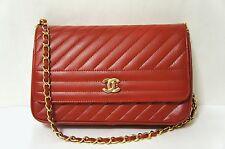 VINTAGE CHANEL Red Lambskin Leather Single Flap Shoulder Bag N289
