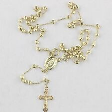 6.30grams Solid 14k Yellow Gold Diamond Cut 3mm Beads Prayer Rosary 18""