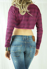 NWT ARK & CO Fuschia Pink and Navy Crop Knit Jumper Size S