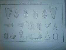 Gravure 19° Instrument de musique des anciens avant Jésus Christ Judaica