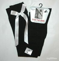 Ladies Girls Long Over The Knee BLACK Socks With WHITE Satin Bows