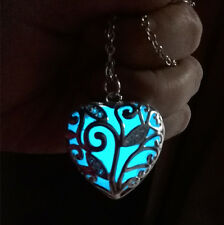 New Heart Fairy Blue Glow In The Dark Pendant Pretty Necklace Magic fu