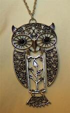 Delightful Filigree Swirled Black-Eyed Wise Old Owl Dangle Pendant Necklace