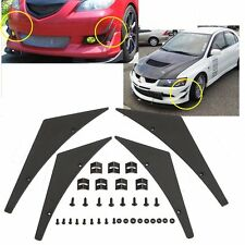 HOT Fit Front Bumper Lip Splitter Fins Body Spoiler Canards Valence Chin Black
