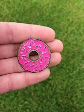 SUPER SWEET PINK GLAZED DONUT (DOUGHNUT) ENAMEL PIN BADGE BY TOTALLY TUBULAR