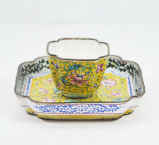 ANTIQUES CHINESE CANTON ENAMEL YELLOW-GROUND QING DYNASTY CUP AND SAUCER