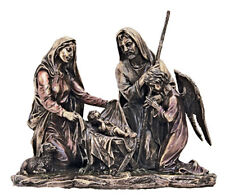 """Holy Family Nativity Sculpture W/Angel,Cold Cast Bronze,9x8"""""""