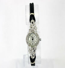 Antique deco diamond watch ladies 14K white gold F-G color round brilliant .45CT