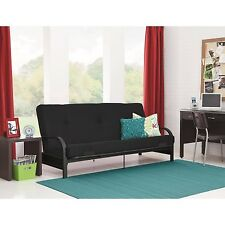 "Metal Arm Futon Sofa Bed Couch With 6"" Mattress Sleeper Furniture Black New"