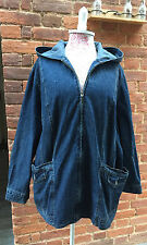 Vintage 80s 90s V.Oversized Hooded Denim Coat Boyfriend Renewal Slouchy 16+