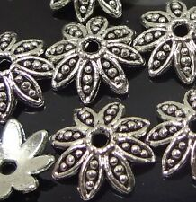 20 Silver Pewter Flower Bead Caps 14mm ~ Lead-Free ~