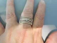 Paparazzi StretchBand Ring (new) WAVY WAVES (SILVER/CRYSTALS)