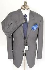 New KITON Grey Stripe 14 Micron Super 180's & Silk 3Btn Suit 53 43 43R 44R NWT!