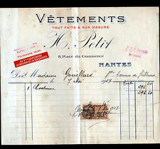 "NANTES (44) VETEMENTS sur mesure / CONFECTION ""H. PETIT"" en 1927"