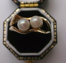 Vintage Women's 9ct Gold Pearl Ring Size O Weight 2.9g Hallmarked Quality Ring