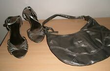 NEW LOOK PEWTER SANDALS WITH MATCHING BAG SIZE 6