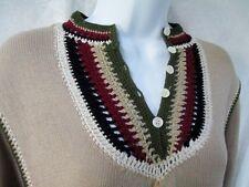 NEW Vtg Stock B. ALTMAN maxi sheath dress Crochet Boho MUSHROOM BEIGE 14