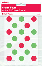 50 x CHRISTMAS red & green dots Loot bags small cello Party bags favours