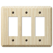TRIPLE (3) GFI ROCKER UNFINISHED ASH WOOD SWITCHPLATE WALLPLATE: PAINT OR STAIN