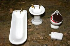 White Bath Tub Sink & Old Fashion Toilet & Tank Miniature Doll House