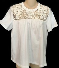 Chloe Top Milk White Embroidered Short Sleeve Size S