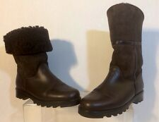 LA CANADIENNE Boots Leather Mid Calf Shearling Chocolate Brown Size: 8.5 M EUC