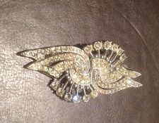 Antico VINTAGE ART DECO DIAMOND incollare PAVE Duette DRESS Clip Spilla SPLENDIDO