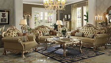 Formal Gold Patina Traditional 3pc Sofa Set Luxurious Sofa Loveseat & Chair Home