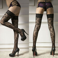 Women's Sexy Sheer Lace Top Thigh-Highs Stockings Garter Belt Suspender Set