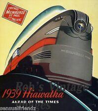 Hiawatha 1939 Milwaukee Road Chicago CMSP Train Railroad Ad Antique Poster LRGE