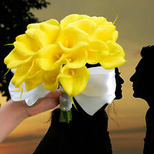 Artificial Wedding Flowers 18 pcs Real Touch Yellow Calla Lily Bridal Bouquet