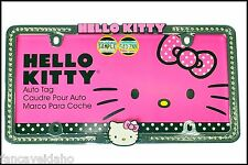 Hello Kitty Rhinestone Crystal Bling 3D Accents Chrome Metal License Plate Frame