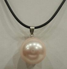 16mm Beautiful Pink shell Pearl Big Bead Pendant Necklace 17""