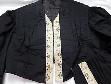 Edwardian ANTIQUE VICTORIAN 1890s Black MOURNING JACKET COAT wEMBROIDERY Vintage
