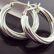 216 GENUINE HALLMARKED REAL 925 STERLING SILVER ITALIAN TWIST HOOP DROP EARRINGS