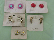 Lot 5 Pairs Vintage Enamel Flower Earrings Pink~Gold Tone Tara~Sorrento Clip-On