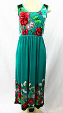 3298 Floral-Women-Long-Maxi-summer-beach-hawaiian-Boho-casual-sundress-M TEAL