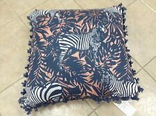Frontgate Outdoor Patio Zebra Jungle Chic Chair Sofa Throw Pillow 20x20 blue New