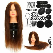 "24"" 100% Real Hair Training Hairdressing Mannequin Practice Head&Braid Set Maker"