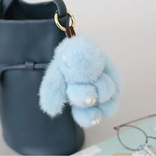 15cm Sky Blue- Real Mink Fur Copenhagen Rabbit Bunny Keyring Bag Charm Toy Doll