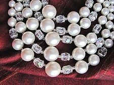 GORGEOUS Vintage White Faux Pearl & Crystal Bead Necklace 5 Strand Made in Japan