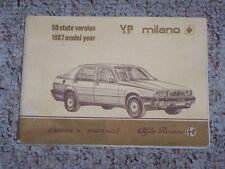 1987 Alfa Romeo Milano V6 2.5 Factory Original Owners Owner's User Manual Book