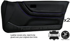 PURPLE STITCH 2X FRONT FULL DOOR CARD LEATHER COVER FITS SUNNY PULSAR GTIR RNN14