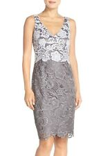 ADRIANNA PAPELL COLORBLOCK FLORAL LACE SHEATH DRESS sz 4