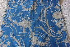 Lovely Old Roses & Scrolls Antique c1870 French Blue Home Dec Fabric Textile